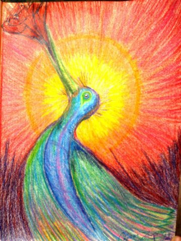"Romance Bird, 8.5""X11"", Color Sticks"