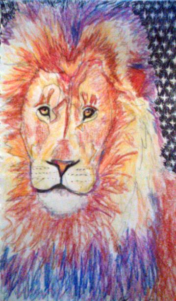 """Lion's Night, 9""""X6"""", Color Pencil and Ink."""