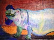 "Drunken Hippo, 12""X9"", Color Sticks and Ink"