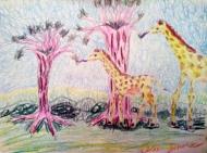 """Giraffe Trees, 9""""X12"""", Color Sticks"""