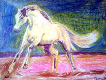 """Horse, 12""""X9"""", Color Sticks and Ink"""