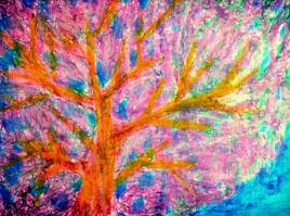 "Treefully, 8.5""X11"", Oil Pastel (digitally edited)"